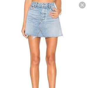 GRLFRND Denim Eva Denim Mini Skirt Light Wash